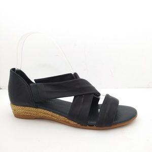 Eric Michael Netty Black Leather Sandals Sz6/36NWT